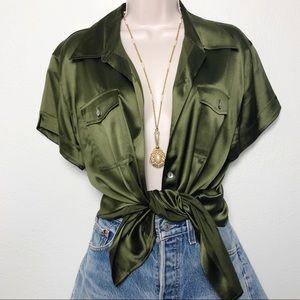 [Chico's] Olive Green Silk Spandex Button Top
